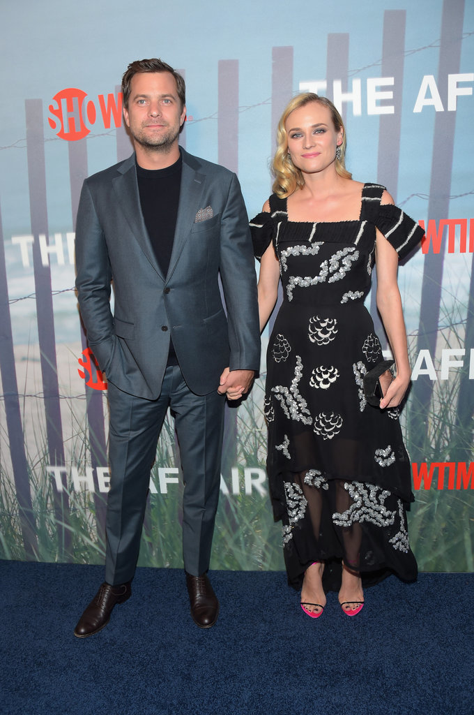 Diane sweetly held hands with longtime love Joshua Jackson at the premiere of The Affair wearing this off-the-shoulder Michael van der Ham dress.