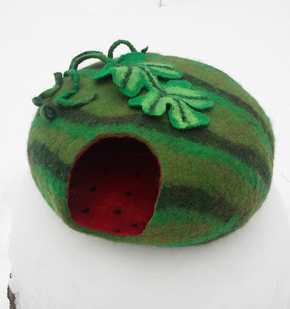 This made-to-order felt watermelon cave ($75) is a sweet place for your furry friend to hide.