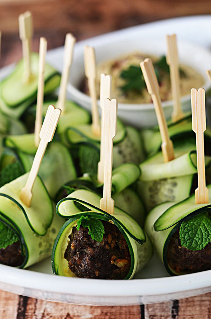 Cucumber-Wrapped, Feta-Stuffed Turkey Meatballs