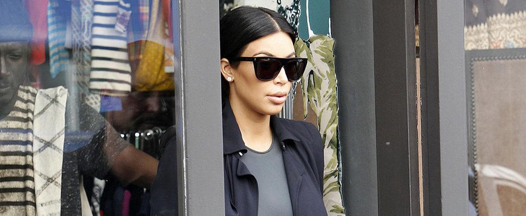 Kim Kardashian Shows Off Her Bump Shopping in Paris