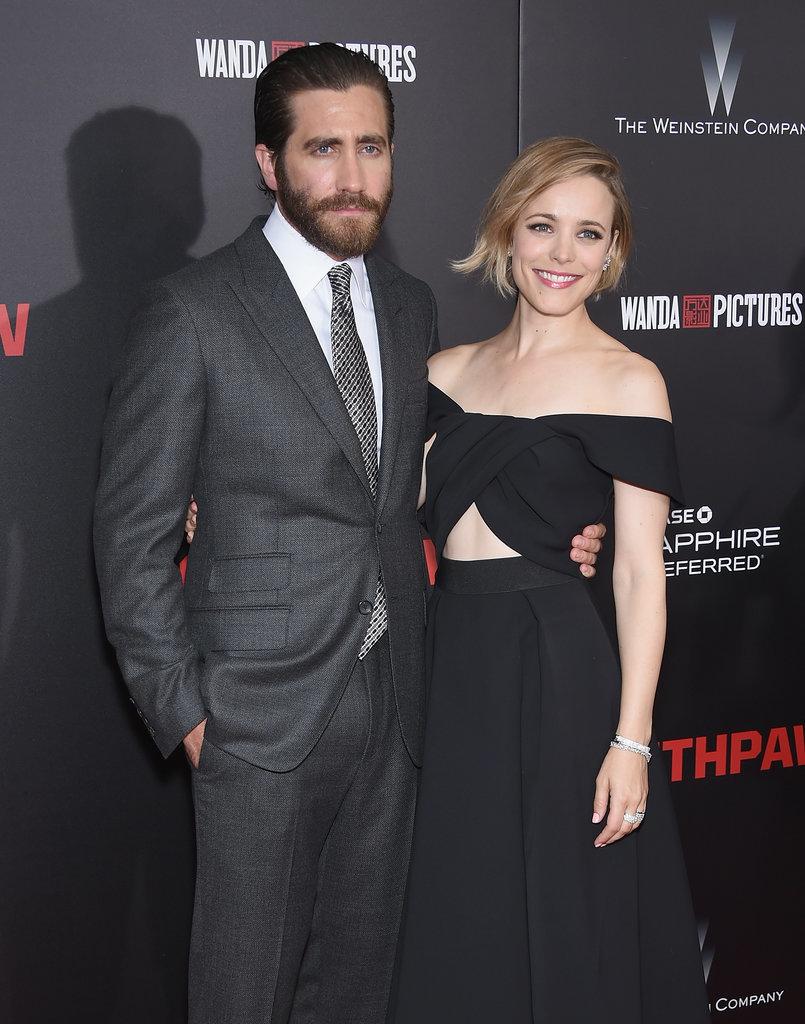 Rachel McAdams cuddles up to Jake Gyllenhaal as Southpaw
