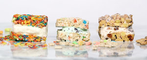 Fruity Pebble Marshmallow Treat Ice Cream Sandwiches!
