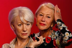 Helen Mirren Posing With Her New Wax Figures