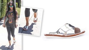 Psst! Vanessa Hudgens' Cool Metallic Sandals Are On Sale For Less Than $50