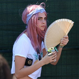 Cara Delevingne With Pink Hair at Osheaga Festival 2015