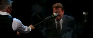 Matt LeBlanc Swings a Sledgehammer at James Corden's Face to Try to Make Him Flinch