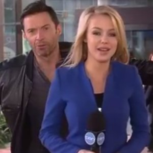 Hugh Jackman Photobombs Reporter on Live TV