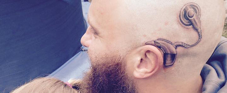 Dad Gets a Tattoo of a Cochlear Implant on His Head to Support His Deaf Daughter