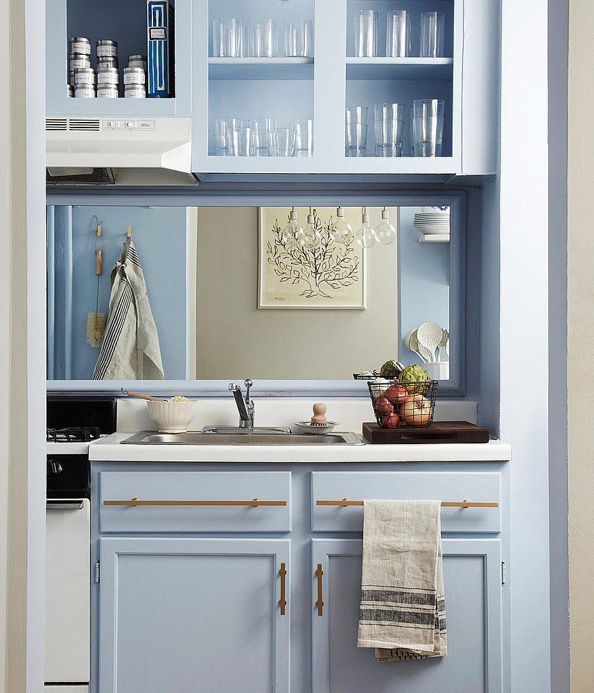 apply a mirrored backsplash 15 genius kitchen diys you how to apply penny backsplash diy this for all