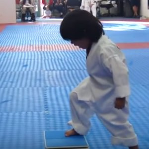Karate Kid Makes Class Laugh Trying to Get His White Belt