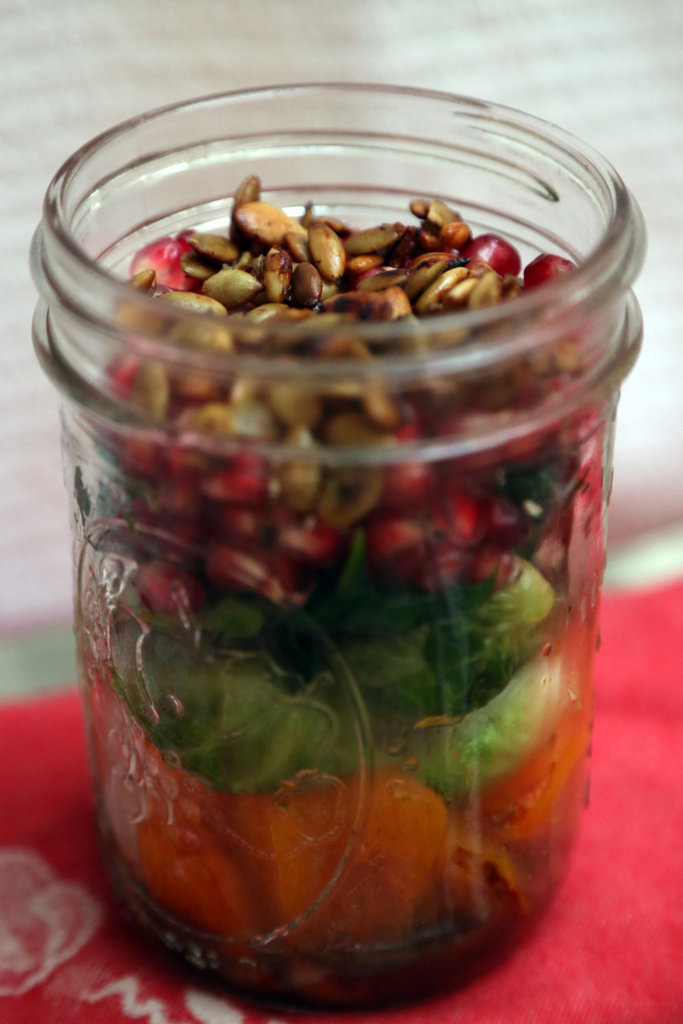 Butternut Squash, Brussels Sprouts, and Pomegranate Mason Jar Salad