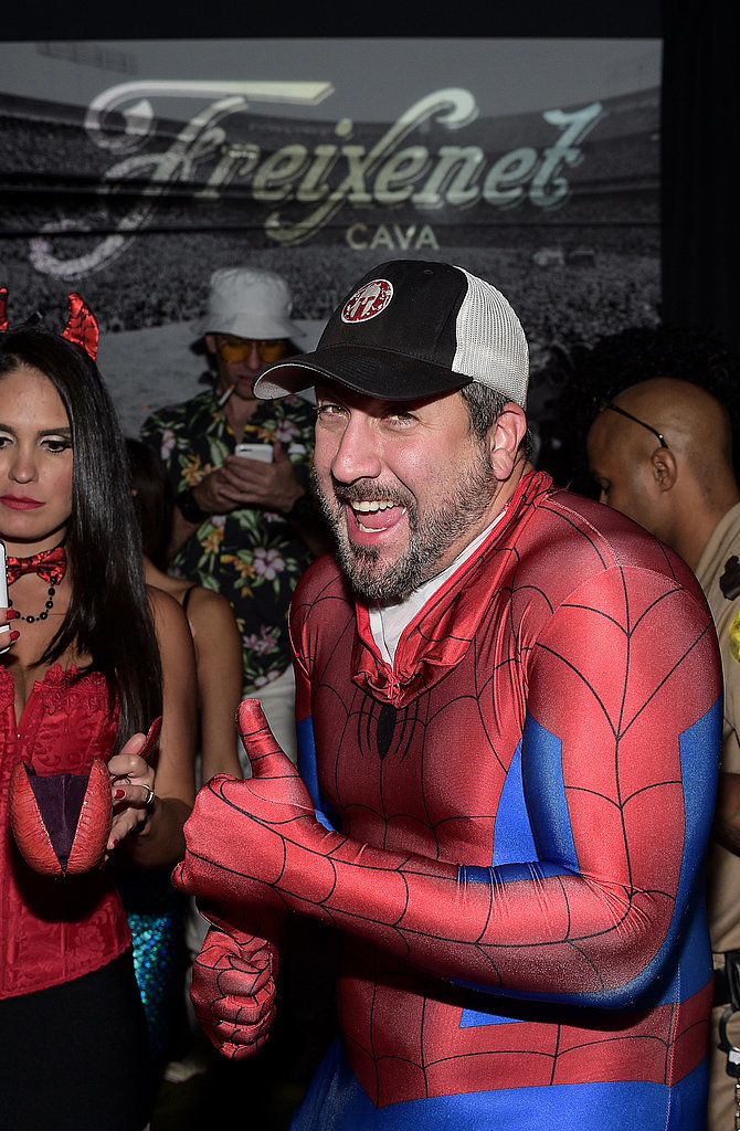 Joey Fatone was Spider-Man at Matthew Morrison's Annual Halloween party in LA in 2014.