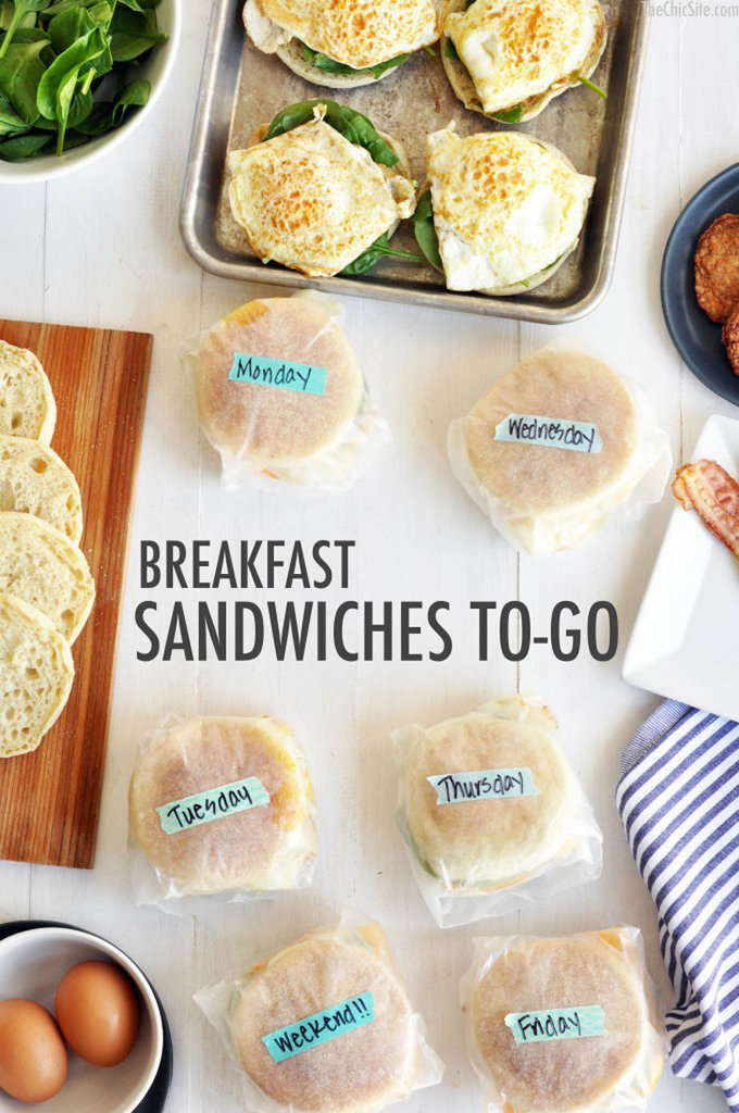 Freezer-Friendly Sausage, Egg, Bacon, and Spinach Breakfast Sandwiches