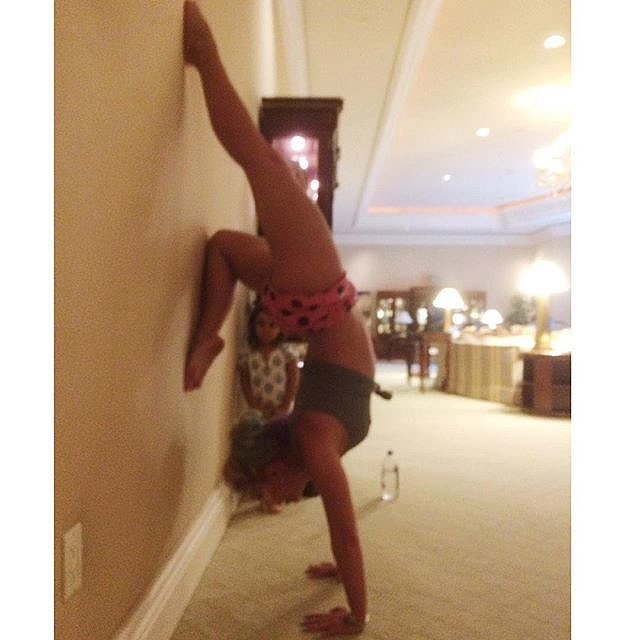 Britney took a break for a morning handstand.