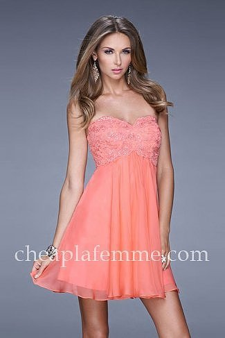 Short Hot Coral Lace La Femme 20633 Homecoming Dresses Cheap
