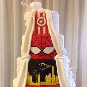 Two-Sided Marvel Wedding Cake