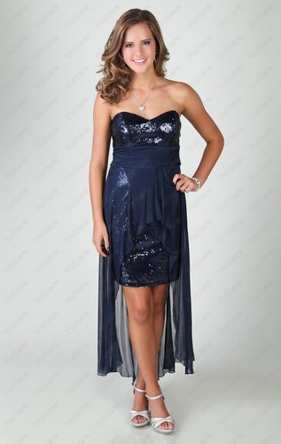 2015 sequin strapless dress with empire waist and chiffon high low overlay