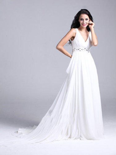 White Chiffon V-neck Floor-length Prom Dress