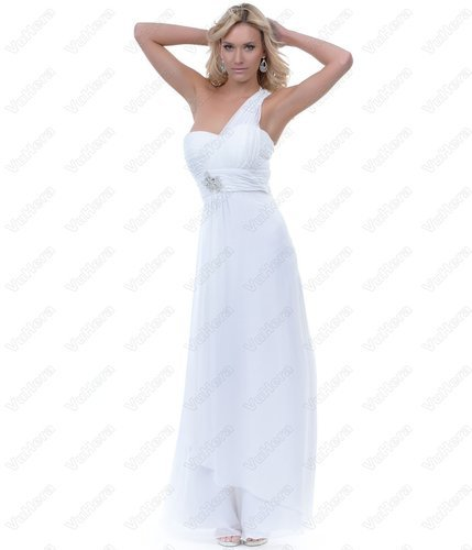 White Chiffon One Shoulder Long Prom Dress
