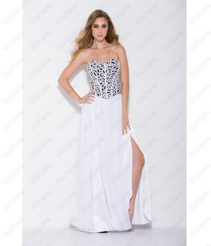 White Strapless Corset Prom Dress - Vuhera.com