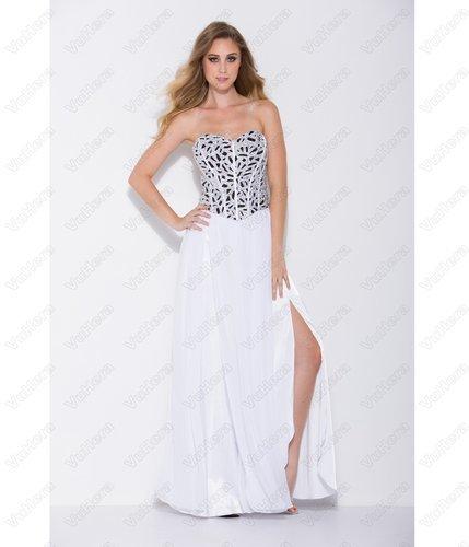 White Strapless Corset Prom Dress - Vuhera.com