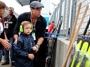 Brad Pitt Takes Son Knox Out for a Father-Son Day at the Race Track