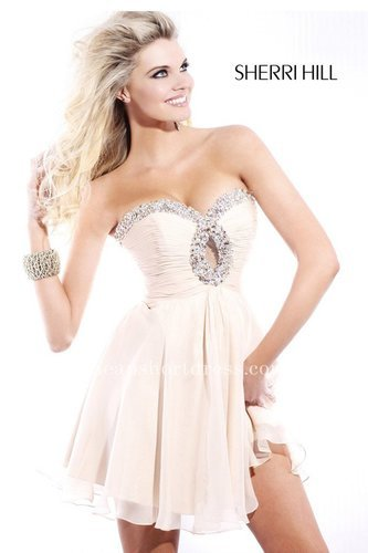 Strapless Keyhole Neckline Blush Sherri Hill 2944 Short Homecoming Dresses On Sale [Sherri Hill 2944] - $165.00 : Short dresses