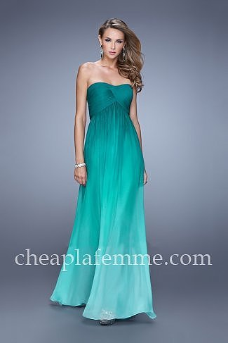 Ombre Jade Strapless Sweetheart La Femme 20986 Prom Dresses