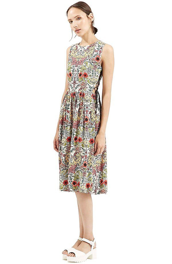 Topshop 'Garden' Lace-Up Midi Dress ($90)