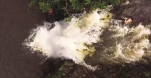 Hikers Get Swept Off Waterfall In Flash Flood, Drone Captures Whole Thing