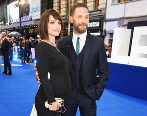 Tom Hardy at Legend premiere with pregnant wife Charlotte Riley and dog Woody in London