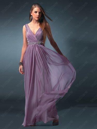 V-neckline Sequined Light Purple Evening Dress - Vuhera.com