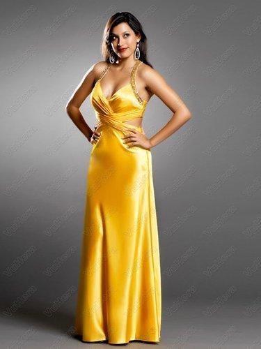 Yellow Satin Beaded Straps V-Neck Evening Dress - Vuhera.com