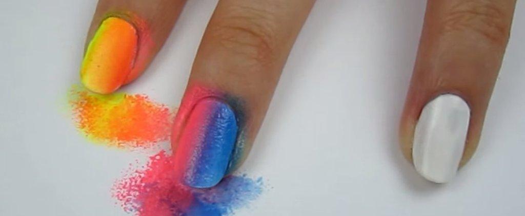 This Is the Easiest Rainbow Ombré Nail Art DIY on the Internet