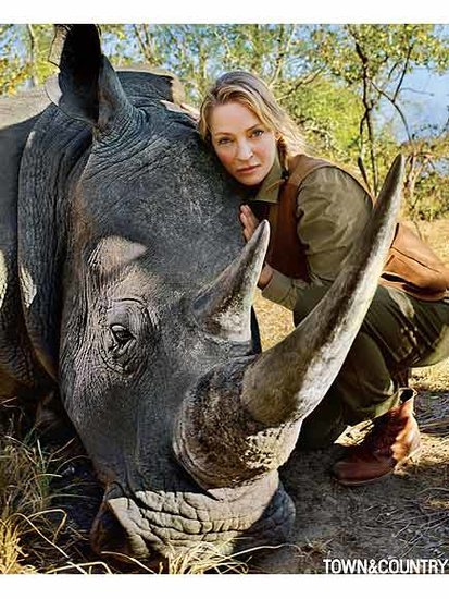 Uma Thurman Helps Rescue Endangered Rhinoceros in Africa, Calls it a 'Spiritual, Surreal Experience'
