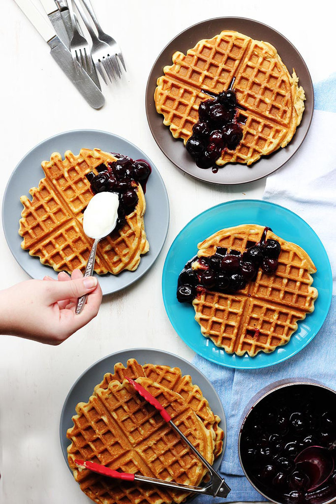 Beer Waffles With Maple-Cherry Compote