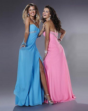 Strapless Sleeveless Floor-length Chiffon Evening Dress - Vuhera.com