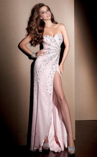 Sheath/Column Chiffon Sweetheart Empire Sleeveless Floor-length Beading Split Prom Dress - Vuhera.com