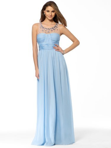 Sky Blue Illusion Jeweled Gown - Vuhera.com