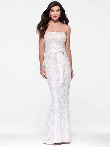 Strapless Embroidered Lace Dress - Vuhera.com