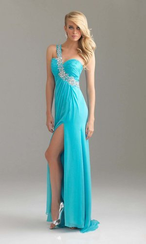 sexy blue long one shoulder chiffon prom dress - Vuhera.com
