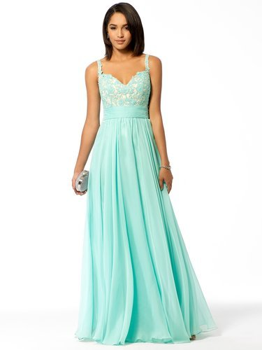 Sea Green Lace Chiffon Gown - Vuhera.com