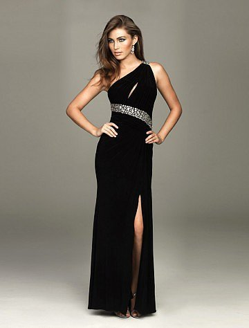 Sheath Column One Shoulder Floor-length Sleeveless Taffeta Dress - Vuhera.com