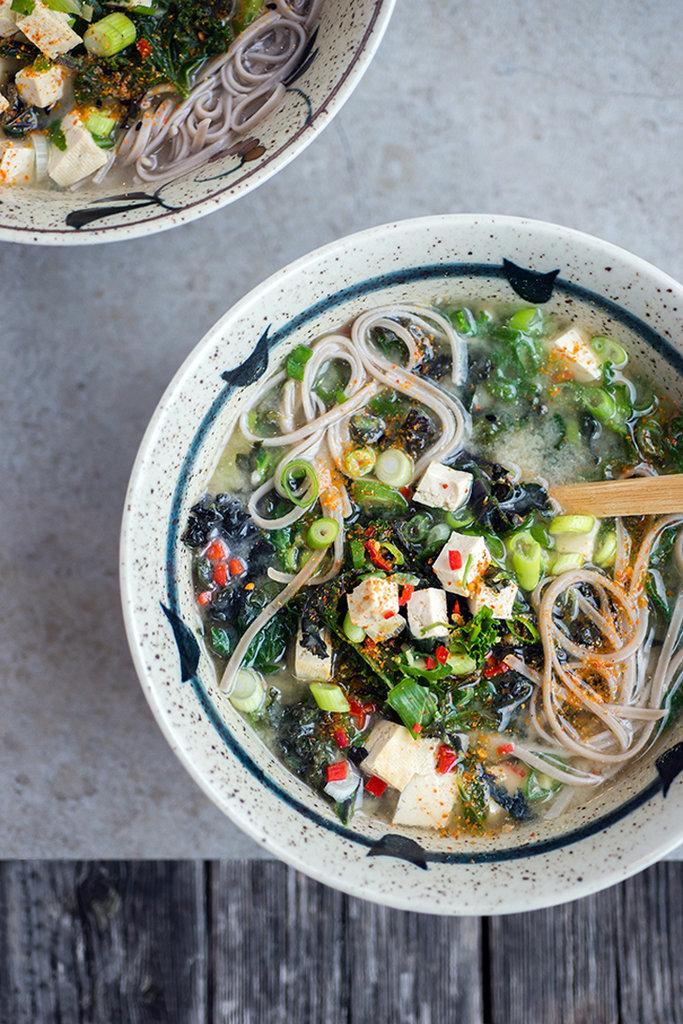 Japanese Miso, Kale, and Tofu Soup