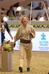 Kaley Cuoco Wears Jedi Outfit, Fights Darth Vader at Charity Competition: Photos