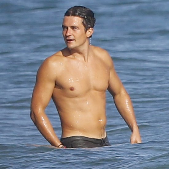 Orlando Bloom Shirtless at Beach October 2015