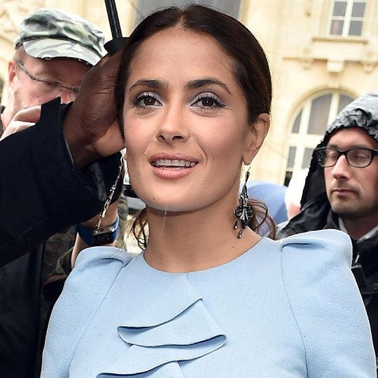 Salma Hayek Wears Blue at Paris Fashion Week 2015
