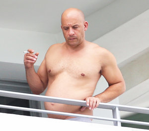 Vin Diesel Showcases Softer Figure While Lounging Shirtless in Miami -- See His Not-So-Buff Bod