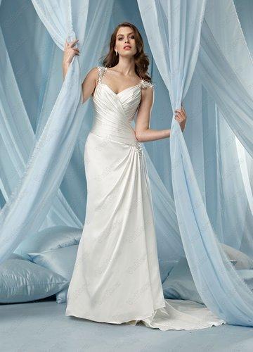 Tissue Satin V-neck Side Draped Bodice Column Wedding Dress - Vuhera.com