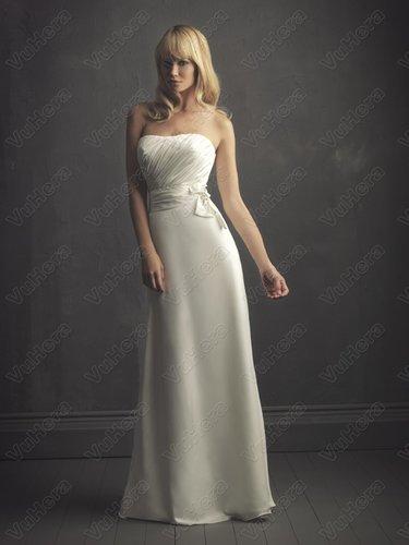 Satin Softly Curved Neckline Ruched Bodice Column Wedding Dress - Vuhera.com
